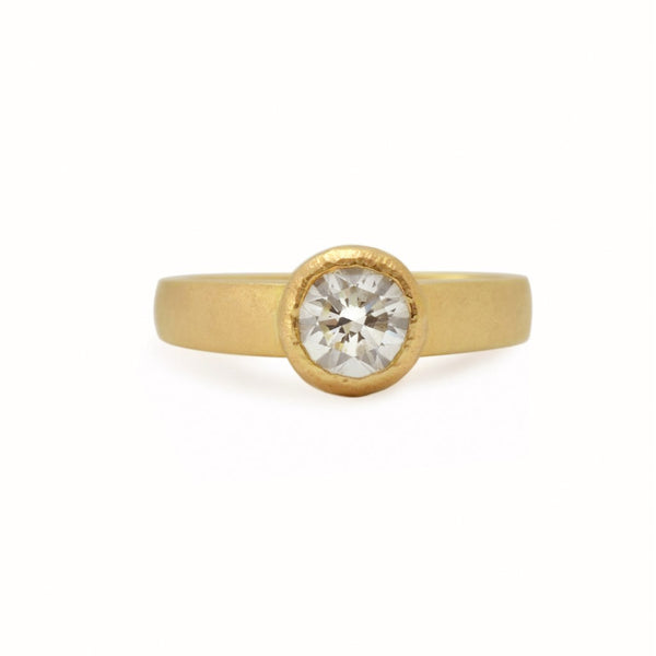 Moissanite or Diamond Modern Gold Ring in recycled or fairmined gold.