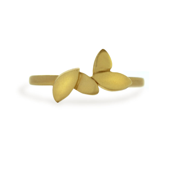 East Fourth Street Jewelry yellow gold ring with leaves. Hand carved and cast. Responsibly sourced 14kt or 18kt gold.