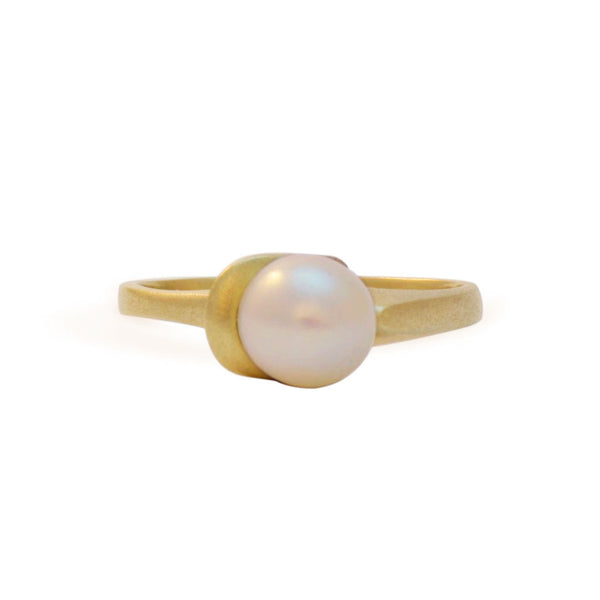 East Fourth Street Jewelry, 14kt white or yellow gold ring with 8mm round white pearl. Modern, unique design
