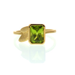 One-of-a-kind Emerald Cut Peridot in 14kt yellow gold