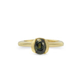 ONE OF A KIND, 2 RING SET -  ENGAGEMENT AND WEDDING, VINTAGE OVAL FORREST GREEN SAPPHIRE IN 14KT FAIRMINED YELLOW GOLD