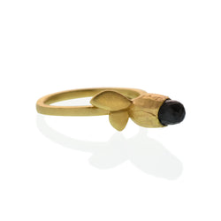 Flora Leaf Ring with Black Spinel