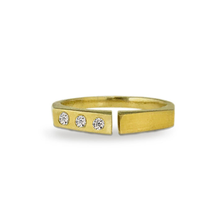 Diamond and 18kt Fairmined Gold Divide Ring