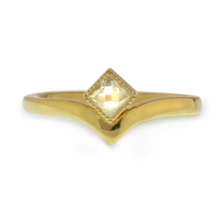 Delicate Lilly Victory Band with Reclaimed and Recut Square Diamond