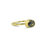 OVAL GREEN SAPPHIRE STACKING GOLD RING