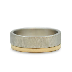 Masculine 2 Ring Set designed by Susan Crow for East Fourth Street Jewelry. Palladium and yellow Fairmined gold stacking bands.
