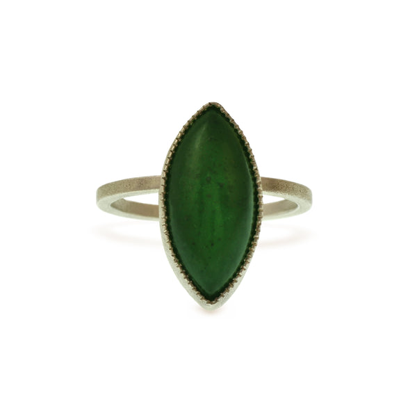 VINTAGE GREEN JADE, MARQUISE CABOCHON IN A HANDMADE STERLING SILVER RING