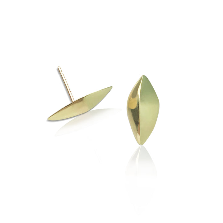 Small Modern and simple Leaf Design post earring made from 18kt Fairmined yellow gold. Perfect for everyday wear, .75