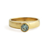 East Fourth Street Jewelry, Montana Sapphire bezel set in white or yellow gold. Hand carved and cast by designer.