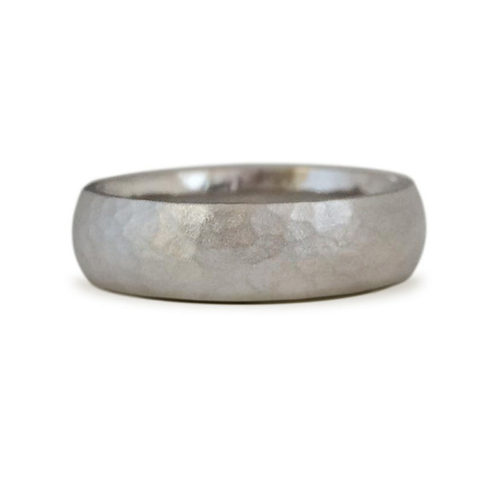 Top selling wedding band. Hand textured half round band in 3 widths. Designed by Susan Crow for East Fourth Street Jewelry