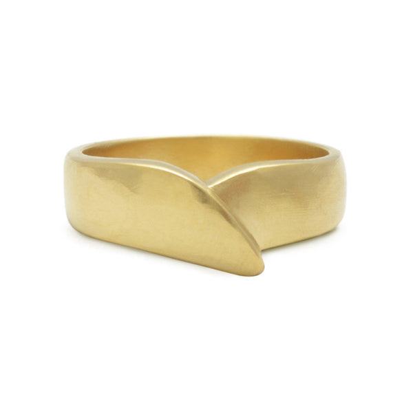 Hand-made masculine wedding band designed by Susan Crow for East Fourth Street Jewelry. Carved and cast in Fairmined or recycled gold.