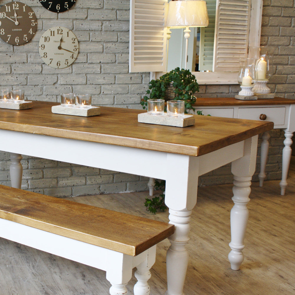 Superieur ... Hardwood Table With White Legs ...