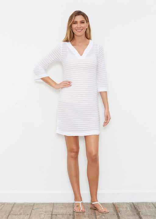 Banded 3/4 Sleeve Cover-up Dress