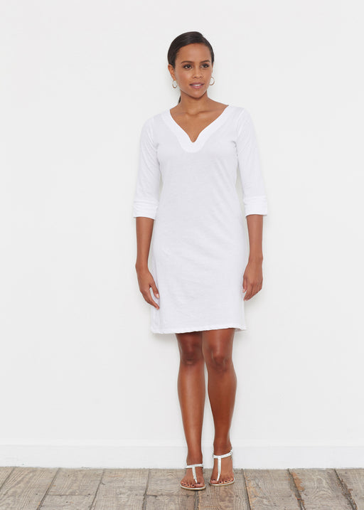 Classic 3/4 Sleeve Sweet Heart V-Neck Dress