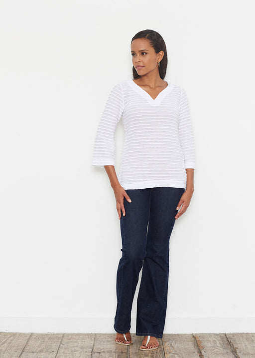 Banded 3/4 Bell-Sleeve V-Neck Tunic