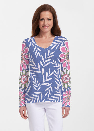 Midnight Garden (10158) ~ Thermal Long Sleeve V-Neck Shirt