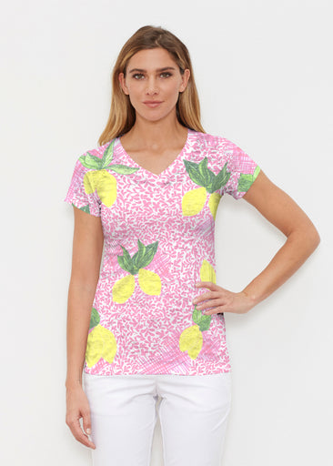 Pink Lemonade (10162) ~ Signature Cap Sleeve V-Neck Shirt