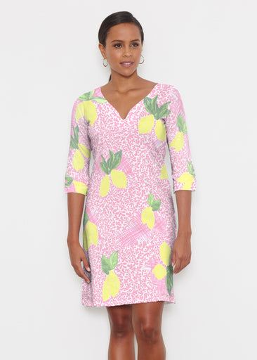 Pink Lemonade (10162) ~ Classic 3/4 Sleeve Sweet Heart V-Neck Dress