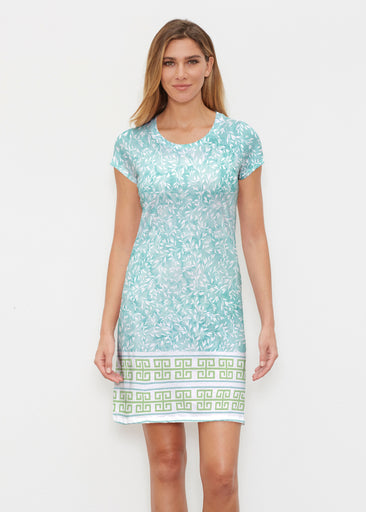 Greek Leaves Aqua-Green (10167) ~ Classic Crew Dress