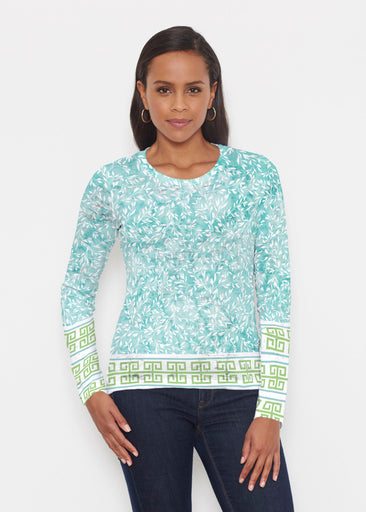 Greek Leaves Aqua-Green (10167) ~ Signature Long Sleeve Crew Shirt