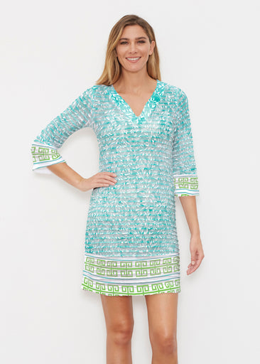 Greek Leaves Aqua-Green (10167) ~ Banded 3/4 Sleeve Cover-up Dress