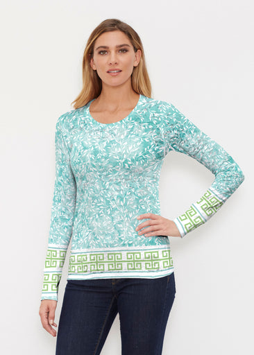 Greek Leaves Aqua-Green (10167) ~ Thermal Long Sleeve Crew Shirt