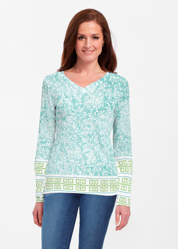 Greek Leaves Aqua-Green (10167) ~ Classic V-neck Long Sleeve Top