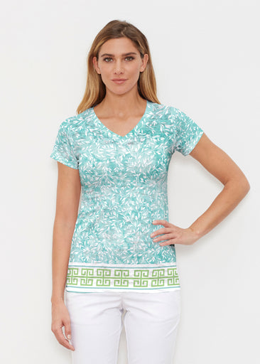 Greek Leaves Aqua-Green (10167) ~ Signature Cap Sleeve V-Neck Shirt