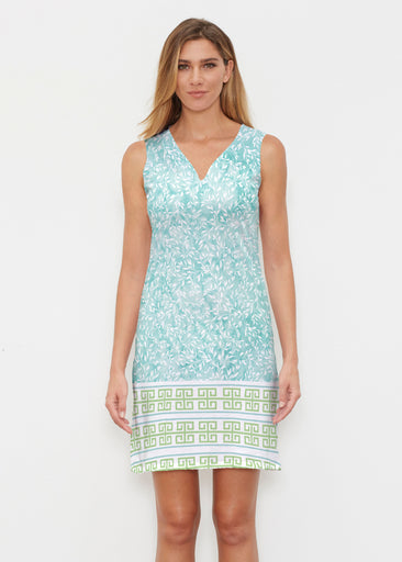 Greek Leaves Aqua-Green (10167) ~ Classic Sleeveless Dress