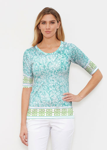 Greek Leaves Aqua-Green (10167) ~ Elbow Sleeve Crew Shirt