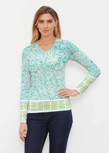 Greek Leaves Aqua-Green (10167) ~ Butterknit Long Sleeve V-Neck Top
