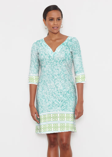 Greek Leaves Aqua-Green (10167) ~ Classic 3/4 Sleeve Sweet Heart V-Neck Dress