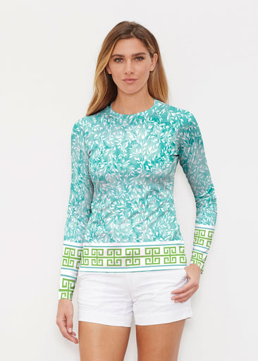 Greek Leaves Aqua-Green (10167) ~ Long Sleeve Rash Guard