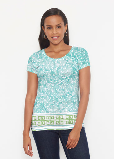 Greek Leaves Aqua-Green (10167) ~ Signature Short Sleeve Scoop Shirt