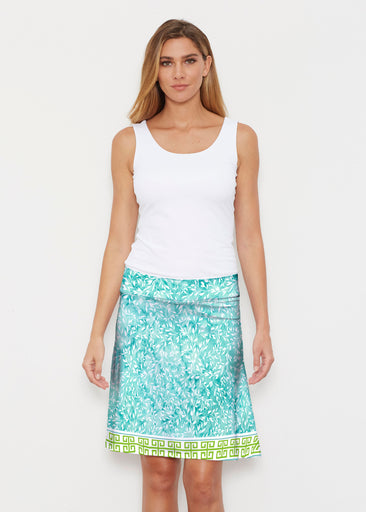Greek Leaves Aqua-Green (10167) ~ Silky Brenda Skirt 21 inch