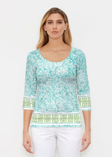 Greek Leaves Aqua-Green (10167) ~ Signature 3/4 Sleeve Scoop Shirt