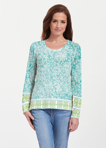 Greek Leaves Aqua-Green (10167) ~ Texture Mix Long Sleeve