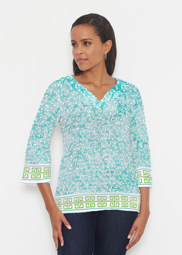 Greek Leaves Aqua-Green (10167) ~ Banded 3/4 Bell-Sleeve V-Neck Tunic