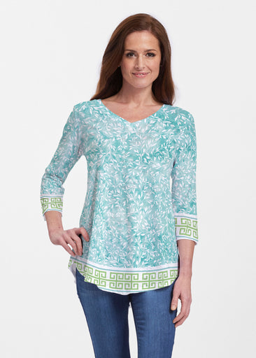 Greek Leaves Aqua-Green (10167) ~ Signature V-neck Flowy Tunic