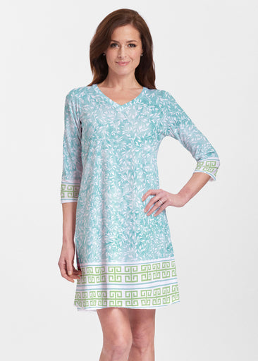 Greek Leaves Aqua-Green (10167) ~ Classic V-neck Swing Dress
