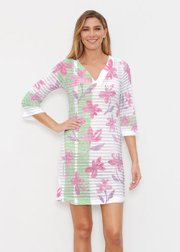 Spring Flower (10169) ~ Banded 3/4 Sleeve Cover-up Dress