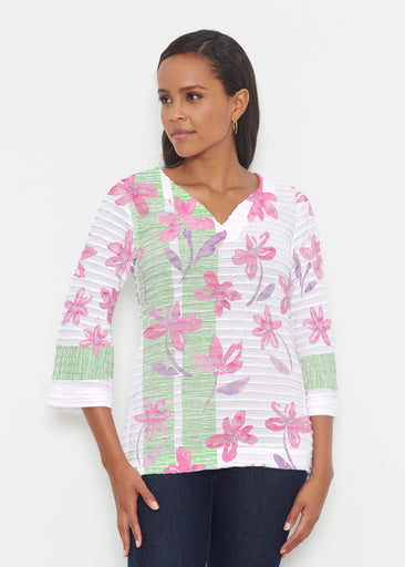 Spring Flower (10169) ~ Banded 3/4 Bell-Sleeve V-Neck Tunic