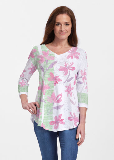 Spring Flower (10169) ~ V-neck Flowy Tunic