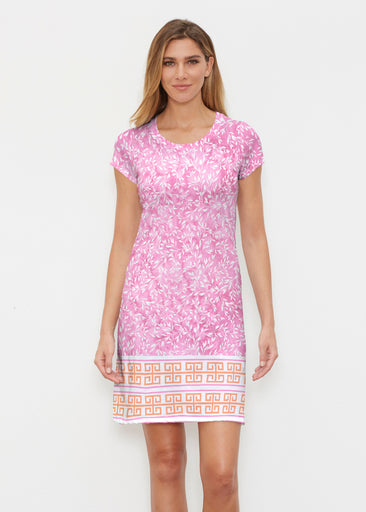 Greek Leaves Pink-Orange (10171) ~ Classic Crew Dress