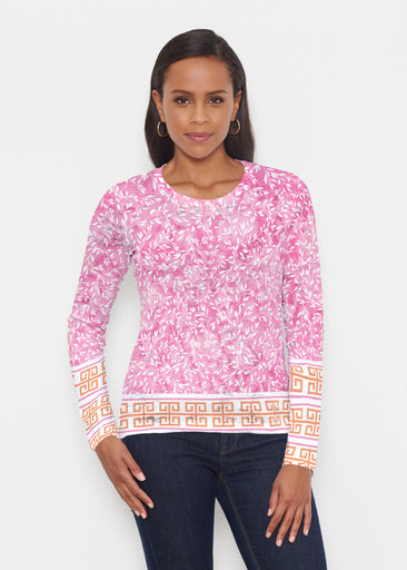 Greek Leaves Pink-Orange (10171) ~ Signature Long Sleeve Crew Shirt