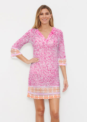 Greek Leaves Pink-Orange (10171) ~ Banded 3/4 Sleeve Cover-up Dress