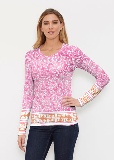Greek Leaves Pink-Orange (10171) ~ Thermal Long Sleeve Crew Shirt