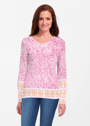 Greek Leaves Pink-Orange (10171) ~ Classic V-neck Long Sleeve Top