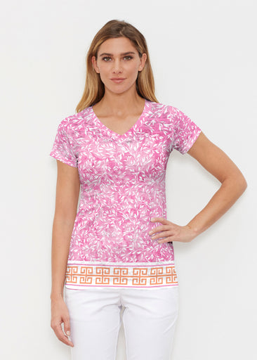 Greek Leaves Pink-Orange (10171) ~ Signature Cap Sleeve V-Neck Shirt