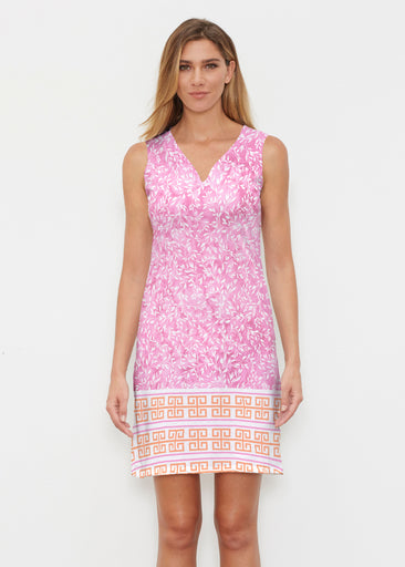Greek Leaves Pink-Orange (10171) ~ Classic Sleeveless Dress